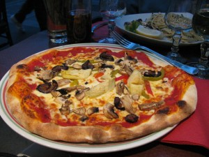San Remo Pizzeria in Paris; artichoke, olive and pepper pizza